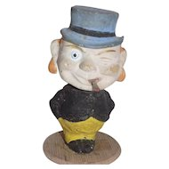 Old Papier Mache Composition German Nodder Bobble Head Doll Old Man