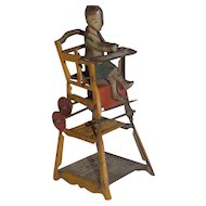 Antique German Tin Penny Toy Baby Doll in Chair Play Table