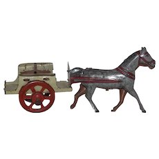 Antique German Tin Penny Toy Horse and Carriage