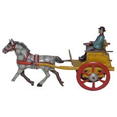 Antique German Tin Penny Toy Man with Carriage and Horse