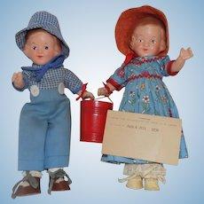 R&B Arranbee Composition Jack & Jill Doll Dolls All Original