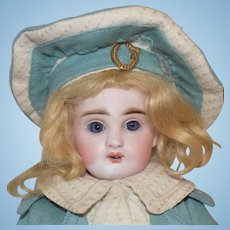CUTE! Antique French Tete Jumeau Walking Doll Cabinet Size