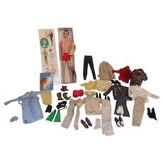 NMIB Mattel Ken Doll w/Lot of Clothes #750 Barbie Flocked Hair