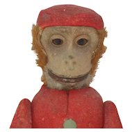 1920's Antique German Schuco Yes No Monkey Bellhop Felt