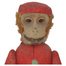 1920's Antique German Schuco Yes No Monkey Bellhop Felt