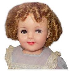 "1950's Ideal Flirty Eyed Shirley Temple Doll A.O. 19"" tall Tagged Dress"