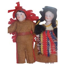 """3 1/2"""" Pair Antique German Hertwig Doll House Dolls Native American Indian Dolls A.O."""