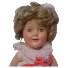 """Vintage 15"""" Ideal Composition Shirley Temple Doll Red Polka Dot Dress TLC"""