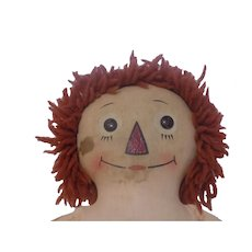 Old Cloth Raggedy Ann Doll Outlined Nose