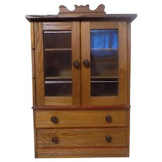 Antique French German Doll Linen China Cabinet  wood
