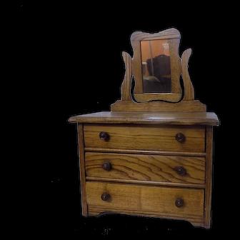 Antique French German Doll Dresser w/Mirror