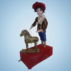 Antique FG French Automaton Mechanical Doll W/Horse Swiss Music Box