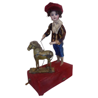 Antique FG French Automaton Mechanical Doll W/Horse Swiss Music Box