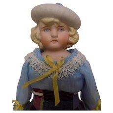 Antique German Hertwig Bonnet Hat Head Doll Blue