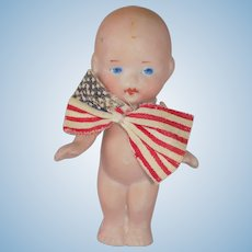 Cute German all Bisque Uncle Sam Doll