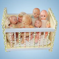 Vintage Plastic Celluloid Baby Doll Dolls Lot with Crib