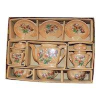 Vintage MIB Toy Doll Child Porcelain Doll Tea Set Lusterware