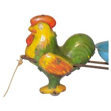 Vintage 1930 Tin Metal Rooster Easter Egg Pull Toy