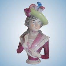 """Antique 5"""" German Volkstedt Rudolstadt Half Doll #3318"""