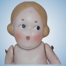 Cute All Bisque German Googly Doll Wide Eyes Open Mouth Heubach