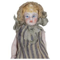 Antique German All Bisque Molded Hair Baby Doll Hertwig