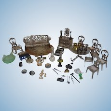 Antique Soft Metal Guilded Doll House Furniture and Accessories