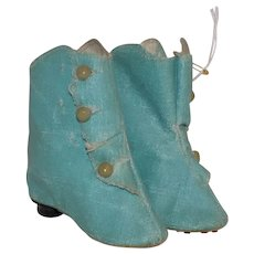 Antique Blue French German Fashion Doll Boots Oil Cloth Size 6