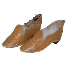 Antique French German Fashion Doll Leather Shoes Large