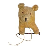 Antique Mohair Bear Pull Toy Wheels