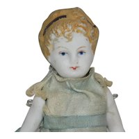 Cute Molded Hair Bare Feet All Bisque Parian Doll House doll