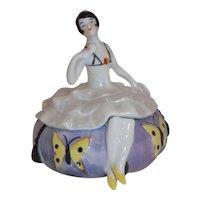 Sitzendorf Art Deco Dancer Dresser Half Doll Trinket Powder Vanity Box Jar German