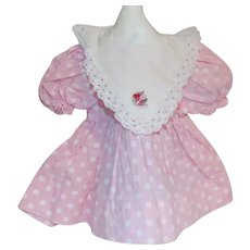 Vintage 1950's Tagged Shirley Temple Doll Dress Pink Polka Dots