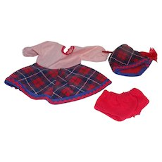 Vintage Tagged Vogue Ginny Doll Outfit Red Plaid