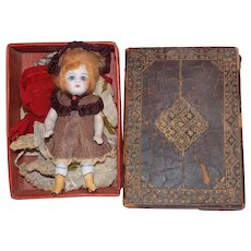 Antique German All Bisque Kestner Doll Yellow Boots Box Clothes