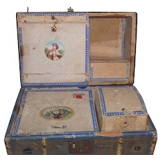 Antique German French Fashion Doll Trunk With inserts and Wheels