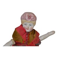 Antique Hertwig Bonnet Head Doll Hanging Pin Cushion