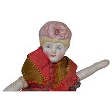 Antique Hertwig Bonnet Head Doll Hanging Pin Cushion
