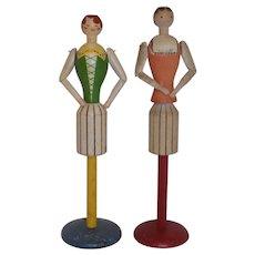 Vintage Wood Doll Hat Jewelry Stand German