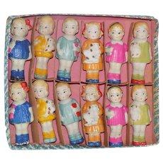 Antique Bisque Penny Dolls Molded Clothes Cat Doll Toys Original Box