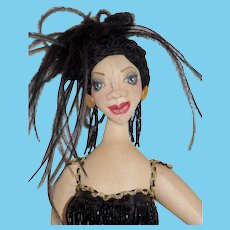 """Cloth Artist Doll OOAK Flapper """"Sparklie"""" Marguerite Bessicks Krafty Expressions"""