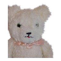 Vintage White Stuffed Plush Bear Googly Eyes Jointed