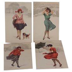 Vintage Italian Art Deco Flapper Lady Postcard Postcards Monte Pellegrino Palermo Water Color Italy