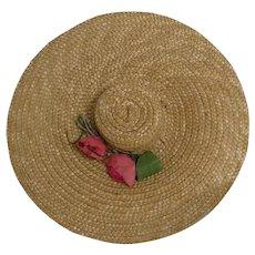Vintage Doll Straw Hat Wendy Scarlett O'Hara