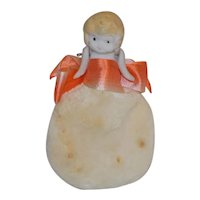 Antique Bisque Carnival Penny Doll Pin Cushion Powder Puff