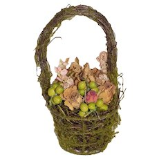 Antique Basket Flowers German French Doll Moss and Dried Flowers