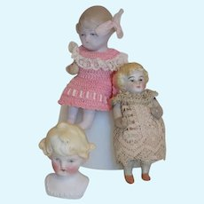 3 German All Bisque Dolls Doll Hertwig Shoulder Molded Hair Immobile