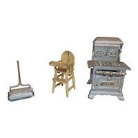 Antique Cast Iron Doll House Stove Vacuum High Chair Royal