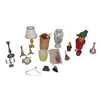 Vintage Doll House Accessories Plants Lamp Basket iron candle sticks Lot