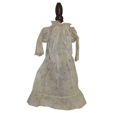 Antique Cotton and Lace Doll Dress Yellow w/Flowers