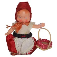 Hertwig All Bisque Little Red Riding Hood Doll Painted Bisque